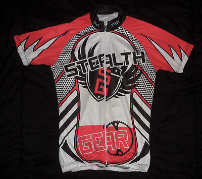 Vintage STEALTH GEAR Red Black White FULL ZIPPER Cycling JERSEY Men