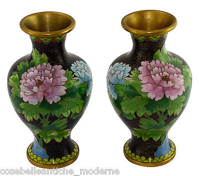 Couple Antique Vases Cloisonné Pair Potiches Old Chinese Minguo 900