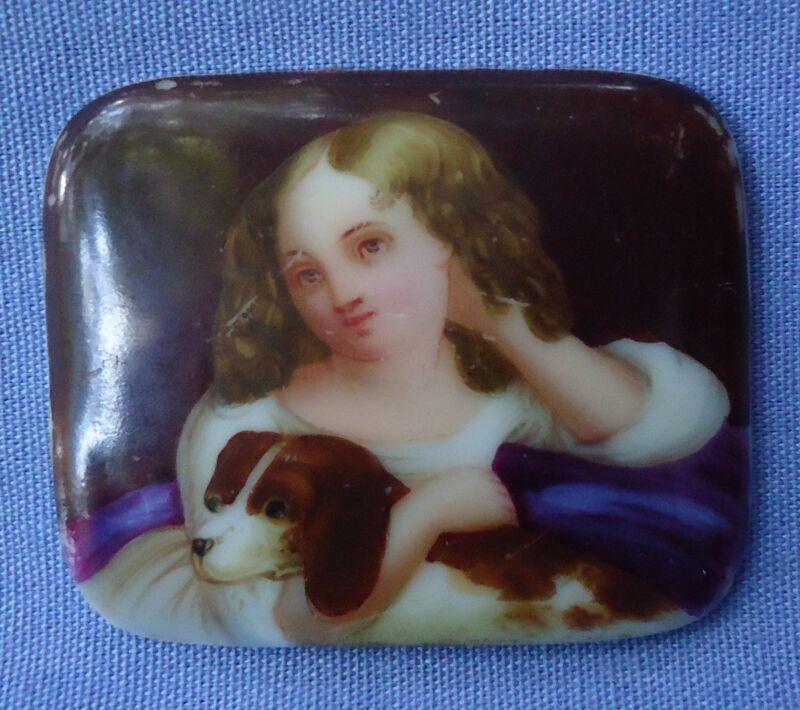 ANTIQUE CAVALIER KING CHARLES SPANIEL DOG VICTORIAN GIRL