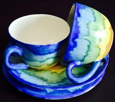 """Pair of Rare Antique Art Nouveau S. Hancock & Sons """"Corona Ware"""" Cups & Saucers"""