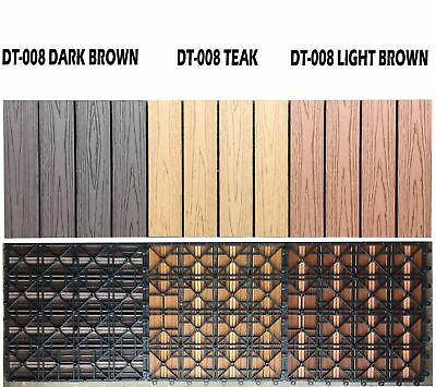 11 x WPC Wooden/Plastic Composite Interlock Decking Floor Slabs Tiles 30 x 30cm