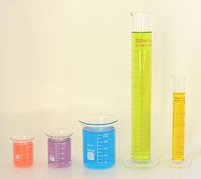 Beaker Set Of 250ml 100ml 50ml Cylinder Set Of 250ml 50ml Lab Glass New