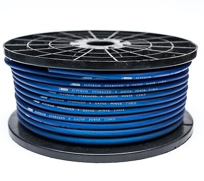 8 AWG GAUGE BLUE POWER CABLE OVERSIZED WIRE CCA PER METRE HIGH QUALITY 10MM2