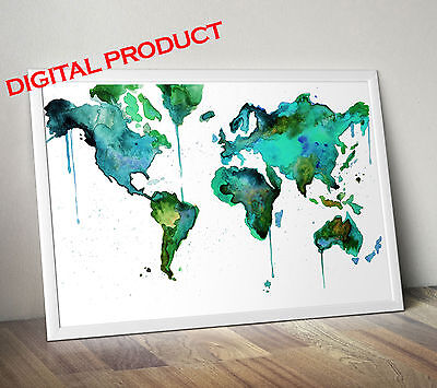 (Watercolor World Map Poster Print Wall Picture PRINTABLE Digital Home Decor)