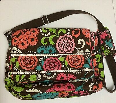 Vera Bradley Lola Pattern Messenger Laptop Adjustable Strap Bag