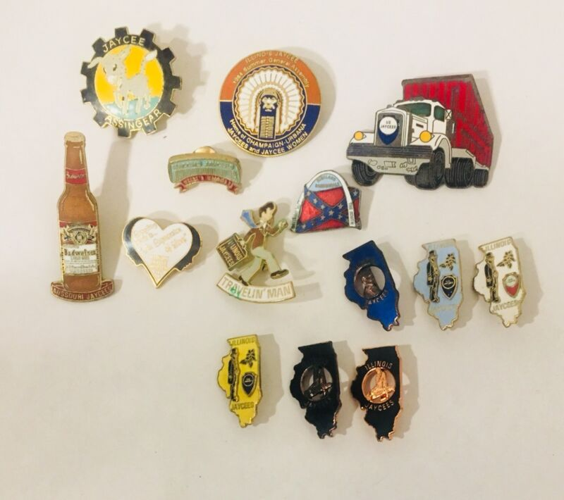 Vintage Jaycees Pin Lot Of 14 - Illinois State Outline, Lincoln, Assembly