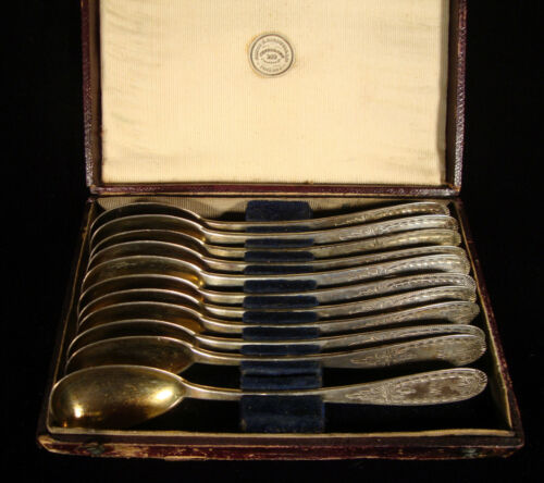 James H. Caldwell Pure Coin Silver Egg Spoons in Leather Case c.1840