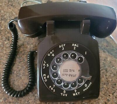 Vintage CHOCOLATE BROWN Rotary Dial Phone ITT Desk #500 45 MCM Telephone 1970's