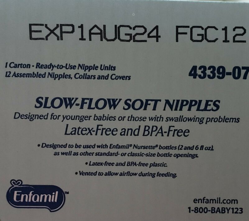 Enfamil ready to Use Slow Flow Soft Nipples - Latex Free & BPA Free - Case of 96