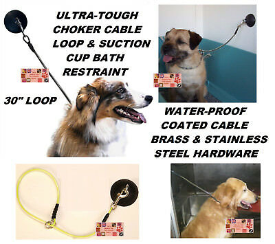 """Dog Cat Grooming""""HOLD EM""""Stay&Wash Bath RESTRAINT SUCTION CUP&CHOKER LOOP Noose"""