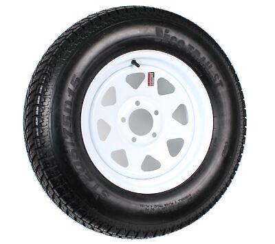Trailer Tire On Rim ST205/75D15 F78-15 205/75-15 LRC 5 Lug Wheel White Spoke