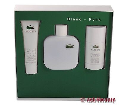 Lacoste Eau De Lacoste Blanc Pure 3 Pcs Gift Set 3.4oz For Men New In Box