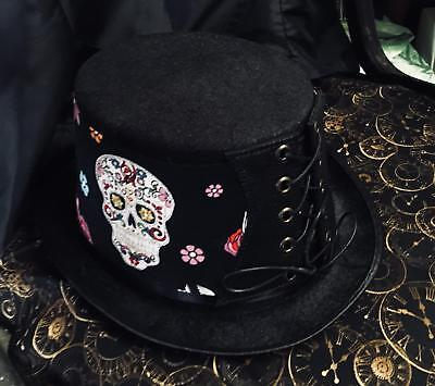 Steampunk Top Hat Corset Day of the Dead Sugar Skulls Biker Gothic feeanddave