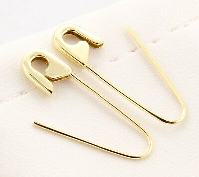 18k Yellow Gold Safety Pin Brooch Earrings (PAIR) 1