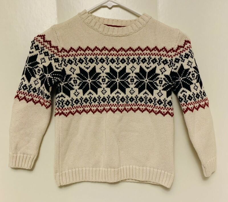 Skyr Boys Size 5 4-5 yrs Sweater Snowflake Fair Isle Nordic