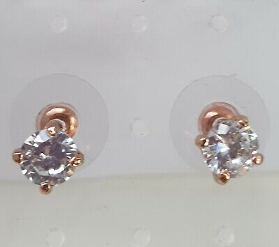 Jon Richard Cubic Zirconia Rose Gold Plated Stud Earrings, Bridal, Party.  6mm