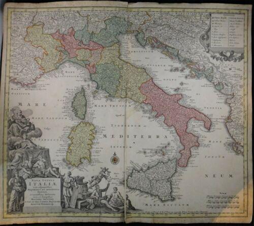 Antique Map of Italy, Nova Totius Italia –Majoribus et minoribus Insulis,