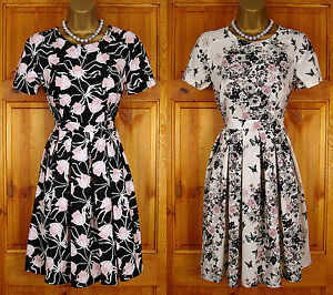 NEW-DOROTHY-PERKINS-BLACK-CREAM-PINK-SUMMER-TEA-PARTY-DRESS-VINTAGE-50s-STYLE