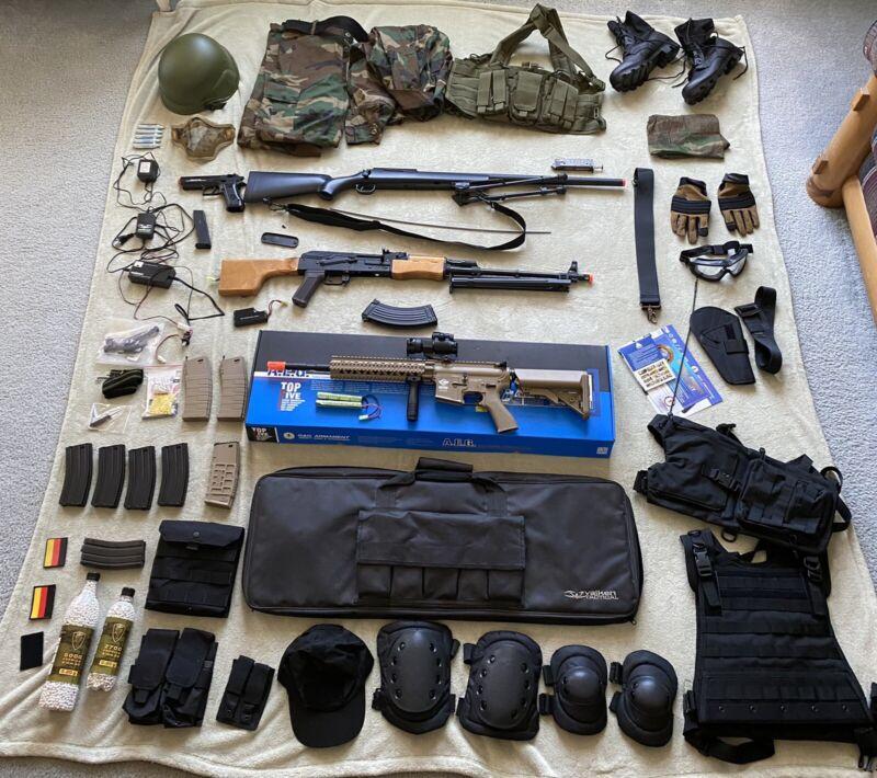 Massive Airsoft Lot - RPK, G&G AR/M4/M16 Model, Desert Eagle Pistol, + Much More