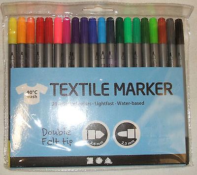 Textilmalstifte 20 Stoffmalstifte Textilmarker Stoffmalen T-Shirt bemalen