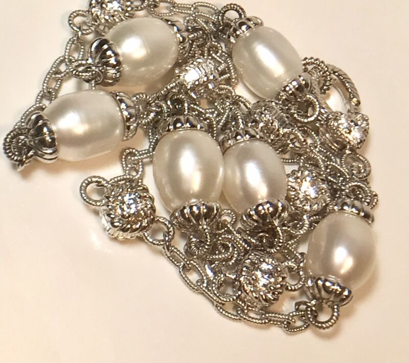 """JUDITH RIPKA STERLING 925 CULTURED PEARL & DIAMONIQUE STATION 22"""" NECKLACE (345)"""
