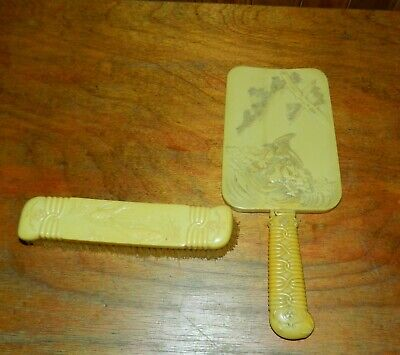 Vintage Butterscotch Bakelite/Celluloid Beveled Glass Hand Held Vanity Mirror