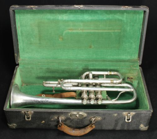 1938 HN White King Junior Silverplate Cornet - SN 220882 - Trumpet - Vintage