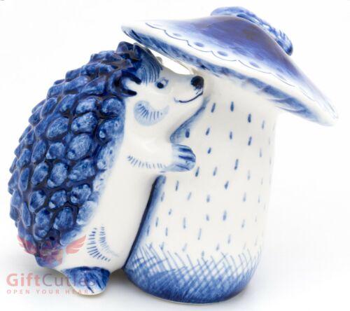 Porcelain Gzhel Figurine of a Hedgehog with a huge mushroom handmade Гжель