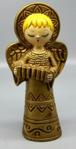 """Vintage 8""""  Inch Plaster Angel Christmas  Hand Painted  Made in Japan MCM"""