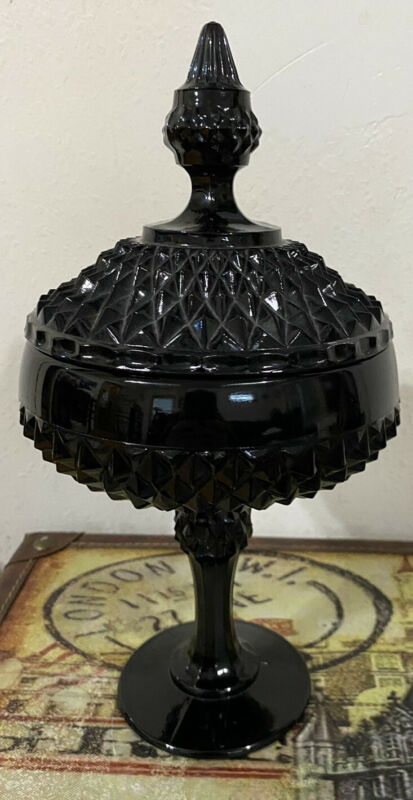 Vintage Indiana Glass Tiara Ebony Black Diamond Point Candy Dish Covered Compote