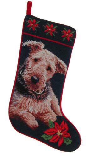 Airedale  needlepoint stocking- not a kit