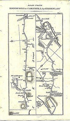 Antique map, Edinburgh to Cornhill (2) / Edinburgh to Carlisle (1)