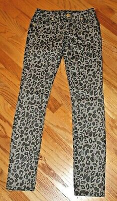 Hello Kitty Juniors Denim Leopard Print Skinny Jeans Sz