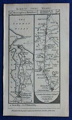 Original antique road map SUFFOLK, HARWICH, ESSEX, BRAINTREE, Paterson, 1785