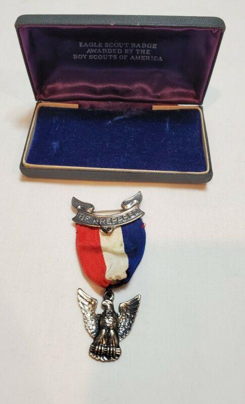 Vintage BSA Boy Scout Eagle Scout Medal Award Sterling Uniform Badge