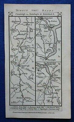 Original antique road map DEVON, BIDEFORD, BARNSTAPLE, TOTNES, Paterson 1785