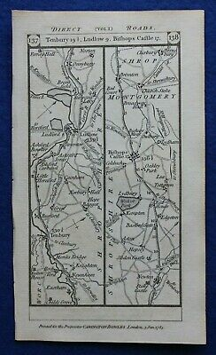 Original antique road map SHROPSHIRE, MONTGOMERYSHIRE, BERKSHIRE, Paterson 1785