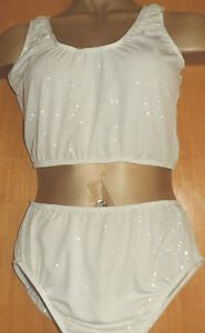 SILVER SPARKLE LYCRA/14/15 YEAR/FREESTYLE/CROP TOP AND PANT