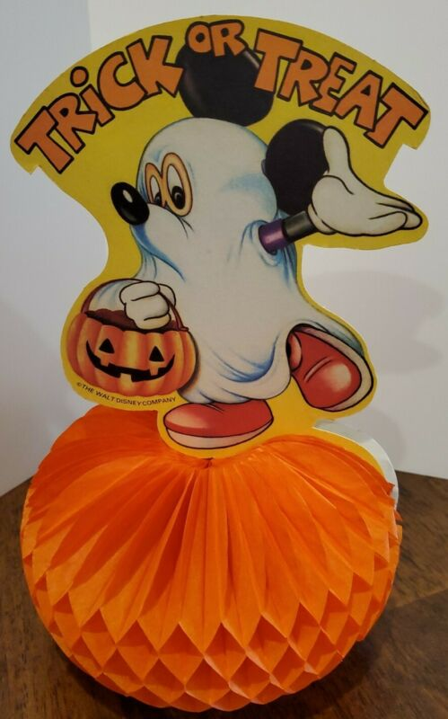 Vintage Walt Disney Mickey Trick or Treat Honeycomb  Pumpkin Halloween 10 x 6