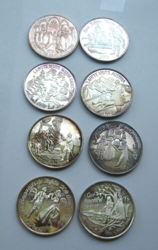 Lot of 8 Different 999 Fine Silver Mardi Gras Doubloons