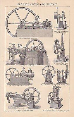 Gaskraftmaschinen Gasmotor Otto HOLZSTICH von 1884 Wärmekraftmaschine