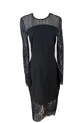 Ministry Of Style Black Lace Dress With Long Sleeves Size 8 , Party Cocktail