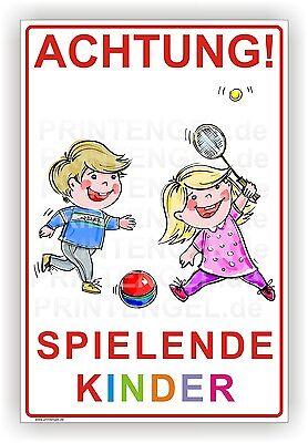 Schild Achtung! Spielende Kinder Warnschild Alu Verbund 3mm 400X600mm Art.Kind 1