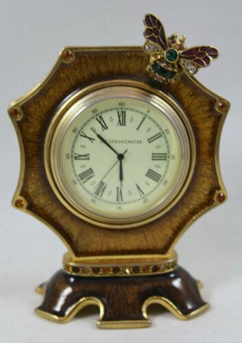 Jay Strongwater Dumont Bee Octagonal Enamel Clock