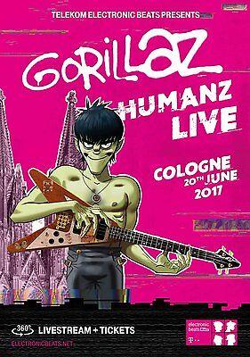 "GORILLAZ ""HUMANZ LIVE TOUR 2017"" GERMANY CONCERT POSTER - Damon Albarn, Alt Rock"