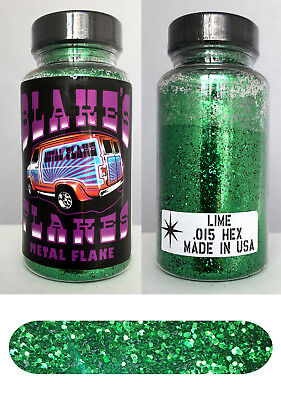 Blakes Metal Flake  015 Lime Green Hot Rod Custom Paint Job Automotive 2Oz Jar
