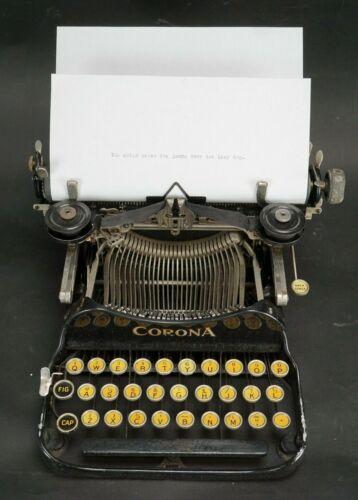 Vintage 1922 Corona Model 3 Folding Typewriter with Case