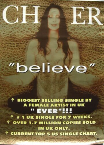 "CHER ""BELIEVE - BIGGEST SELLING SINGLE BY A FEMALE ARTIST"" THAILAND PROMO POSTER"