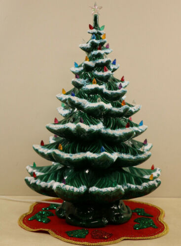 "HUGE Ceramic Christmas Tree Vtg Snow Flocked 3 Piece Atlantic  24.5 "" High"