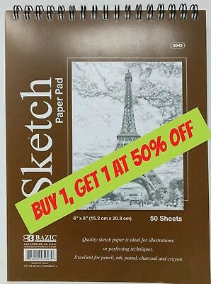 "6"" x 8"" Spiral Sketch Pad Book Bazic 50 Paper Sheets for Pencil Ink Pastel"